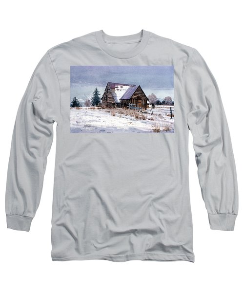 Long Sleeve T-Shirt featuring the painting Cache Valley Barn by Donald Maier