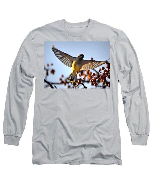 Cedar Waxwing Flight Long Sleeve T-Shirt