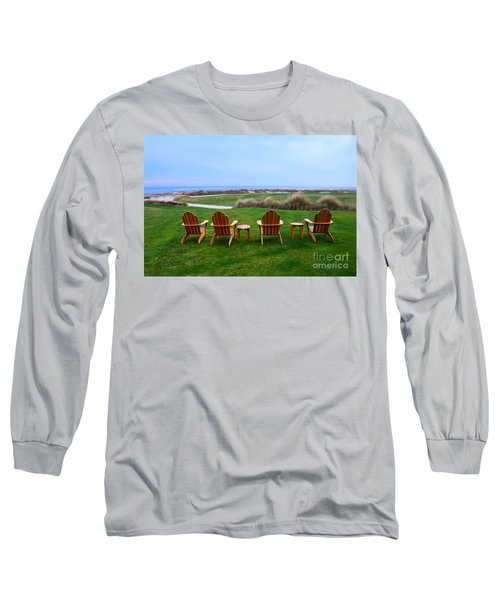 Chairs At The Eighteenth Hole Long Sleeve T-Shirt by Catherine Sherman