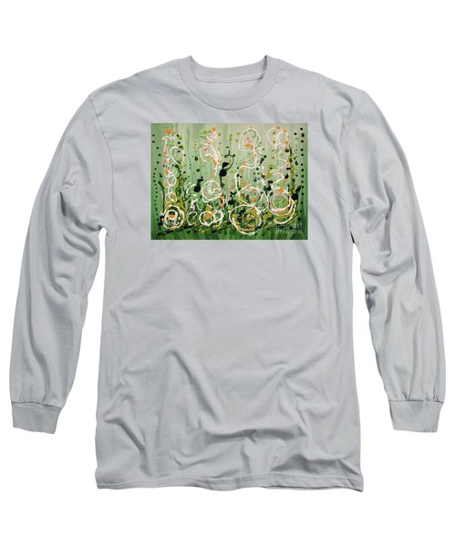 Long Sleeve T-Shirt featuring the painting Champagne Symphony by Holly Carmichael