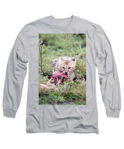 Cheetah Cub Acinonyx Jubatus Eating Long Sleeve T-Shirt