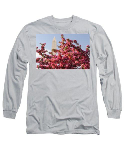 Long Sleeve T-Shirt featuring the photograph Cherry Trees And Washington Monument 5 by Mitchell R Grosky