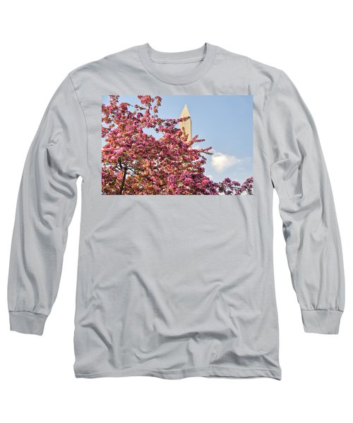 Cherry Trees And Washington Monument One Long Sleeve T-Shirt