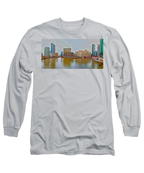 Long Sleeve T-Shirt featuring the photograph Chicago Skyline And Streets by Alex Grichenko
