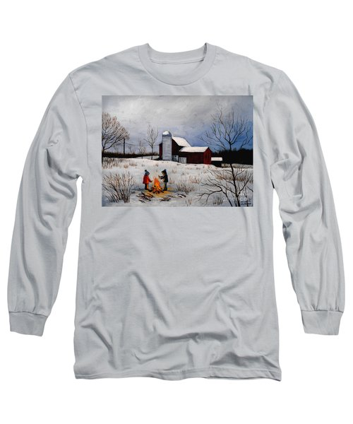 Children Warming Up By The Fire Long Sleeve T-Shirt
