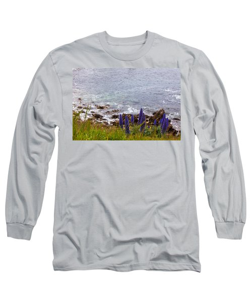 Coastal Cliff Flowers Long Sleeve T-Shirt by Melinda Ledsome
