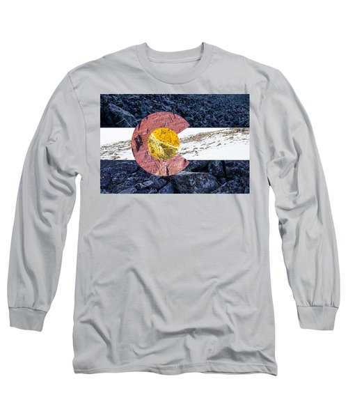 Colorado State Flag With Mountain Textures Long Sleeve T-Shirt