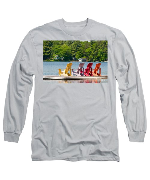 Long Sleeve T-Shirt featuring the photograph Colorful Chairs by Les Palenik