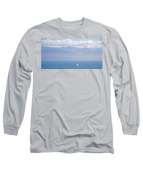 Colors Of Alaska - Sailboat And Blue Long Sleeve T-Shirt