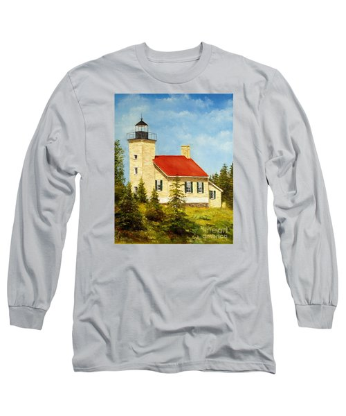 Copper Harbor Lighthouse Long Sleeve T-Shirt by Lee Piper