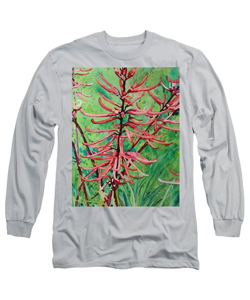 Coral Bean Flowers Long Sleeve T-Shirt