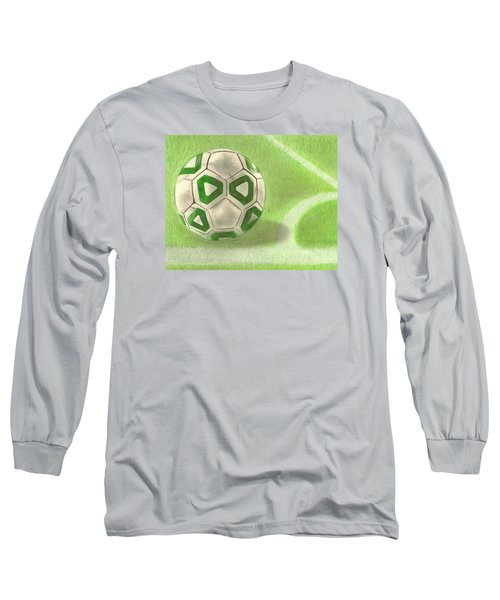 Long Sleeve T-Shirt featuring the drawing Corner Kick by Troy Levesque