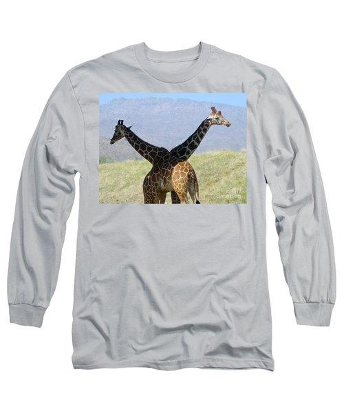 Crossed Giraffes Long Sleeve T-Shirt by Phyllis Kaltenbach