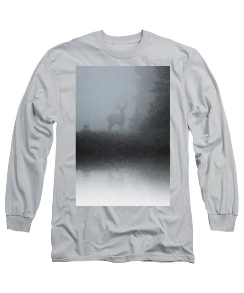 Long Sleeve T-Shirt featuring the photograph Deer Reflecting by Diane Alexander
