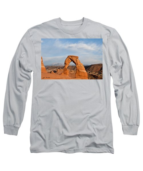 Delicate Arch At Sunset Long Sleeve T-Shirt by Jeff Goulden