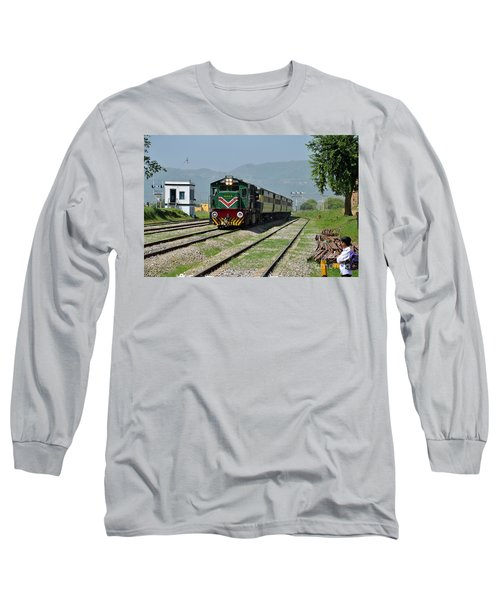 Long Sleeve T-Shirt featuring the photograph Diesel Electric Locomotive Speeds Past Student by Imran Ahmed
