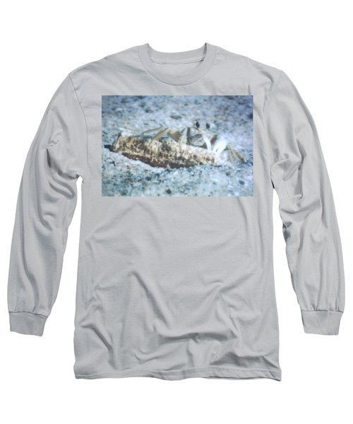 Long Sleeve T-Shirt featuring the photograph Beach Crab Snacking by Belinda Lee