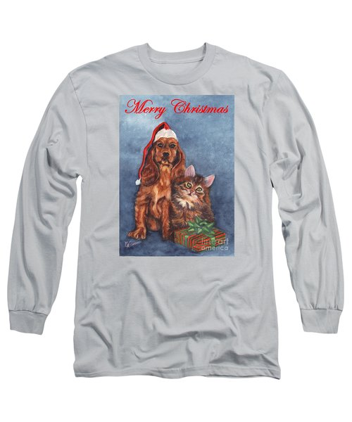 Long Sleeve T-Shirt featuring the painting Dog And Cat Merry Christmas   by Carol Wisniewski