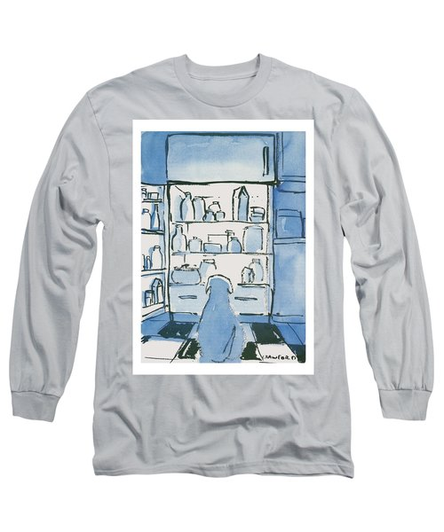 Dog In Front Of An Open Refrigerator Long Sleeve T-Shirt