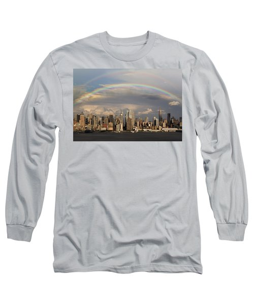 Long Sleeve T-Shirt featuring the photograph Double Rainbow Over Nyc by Susan Candelario