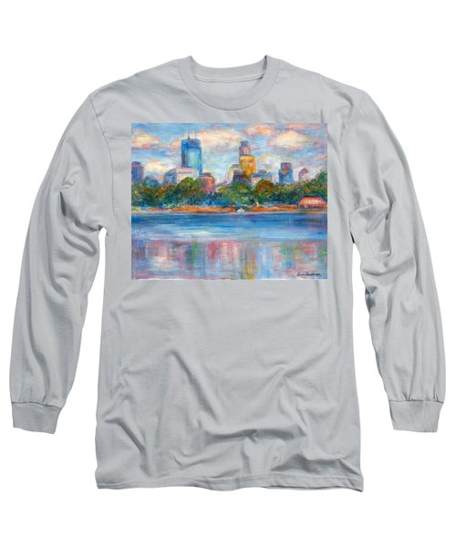 Downtown Minneapolis Skyline From Lake Calhoun II - Or Commission Your City Painting Long Sleeve T-Shirt