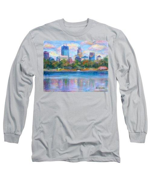 Downtown Minneapolis Skyline From Lake Calhoun Long Sleeve T-Shirt by Quin Sweetman