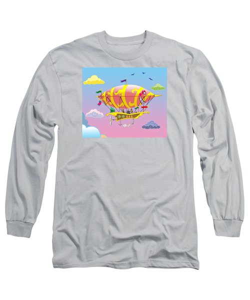 Long Sleeve T-Shirt featuring the mixed media Rainbow Steampunk Dreamship by J L Meadows