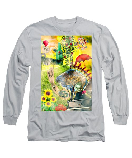 Long Sleeve T-Shirt featuring the mixed media Drifting Away by Ally  White