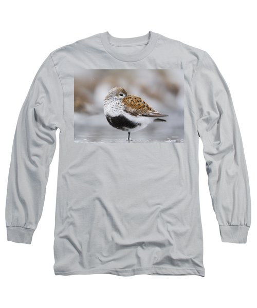 Dunlin Roosting With Western Sandpipers Long Sleeve T-Shirt