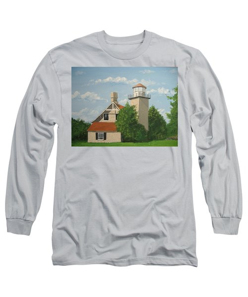 Long Sleeve T-Shirt featuring the painting Eagle Bluff Lighthouse Wisconsin by Norm Starks