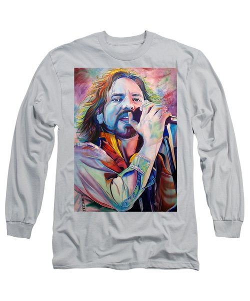 Eddie Vedder In Pink And Blue Long Sleeve T-Shirt by Joshua Morton
