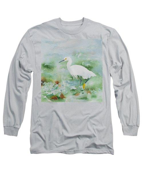 Egret 2 Long Sleeve T-Shirt by Christine Lathrop