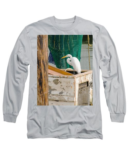 Egret With Fishing Net Long Sleeve T-Shirt