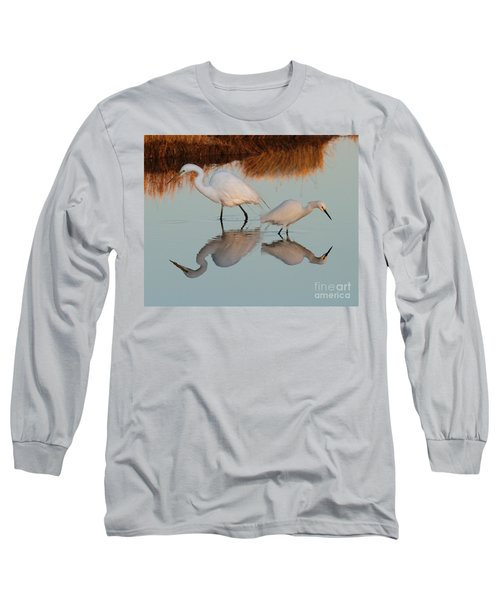 Elegant Big And Small Great White And Snowy Egrets Long Sleeve T-Shirt