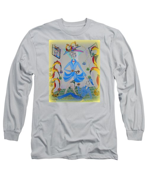 Long Sleeve T-Shirt featuring the painting Eleonore Tea Party by Marie Schwarzer