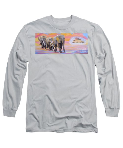 Long Sleeve T-Shirt featuring the painting Elephant Fantasy Must Open by Phyllis Kaltenbach
