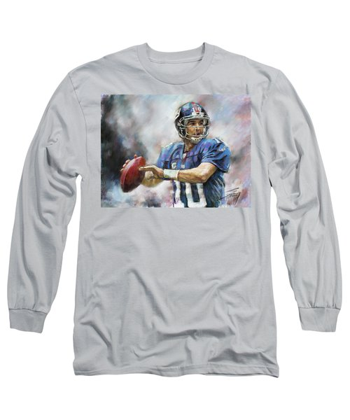 Eli Manning Nfl Ny Giants  Long Sleeve T-Shirt by Viola El