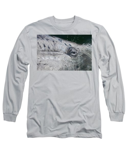 Long Sleeve T-Shirt featuring the photograph Eye Of A Young Gray Whale by Don Schwartz