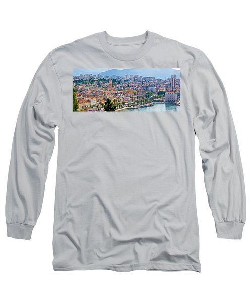 Fabulous Split Waterfront Aerial Panorama Long Sleeve T-Shirt
