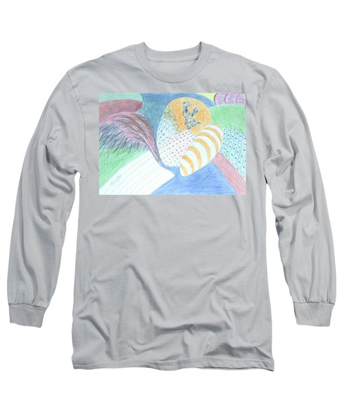 Long Sleeve T-Shirt featuring the drawing Fantasy Of Egg And Cactus by Esther Newman-Cohen