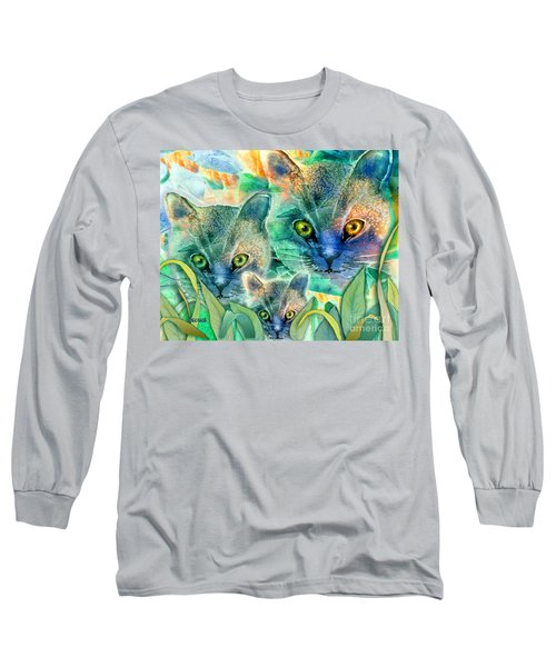 Long Sleeve T-Shirt featuring the painting Feline Family by Teresa Ascone