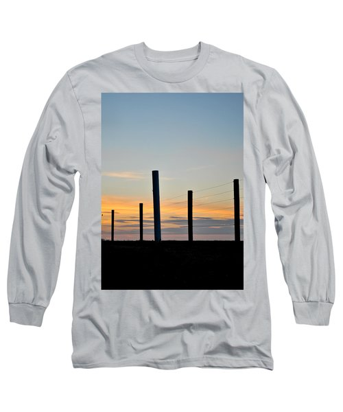 Fence Posts At Sunset Long Sleeve T-Shirt