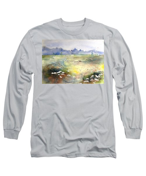 Field Of Daisies Long Sleeve T-Shirt by Marilyn Zalatan