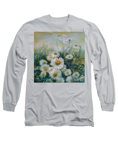 Long Sleeve T-Shirt featuring the painting Field Of Flowers by Elena Oleniuc