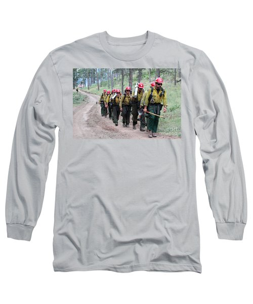 Fire Crew Walks To Their Assignment On Myrtle Fire Long Sleeve T-Shirt