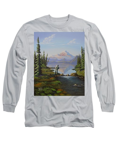 Long Sleeve T-Shirt featuring the painting Fishing The High Lakes by Richard Faulkner