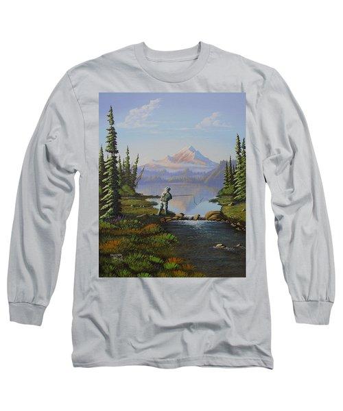 Fishing The High Lakes Long Sleeve T-Shirt by Richard Faulkner