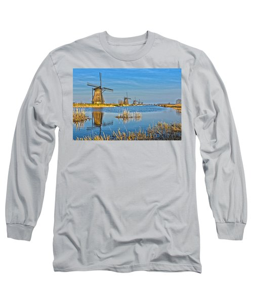 Five Windmills At Kinderdijk Long Sleeve T-Shirt by Frans Blok