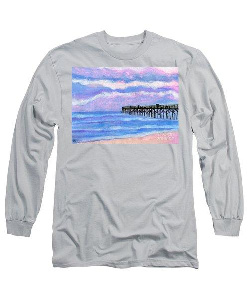 Flagler Beach Pier Long Sleeve T-Shirt by Roz Abellera Art