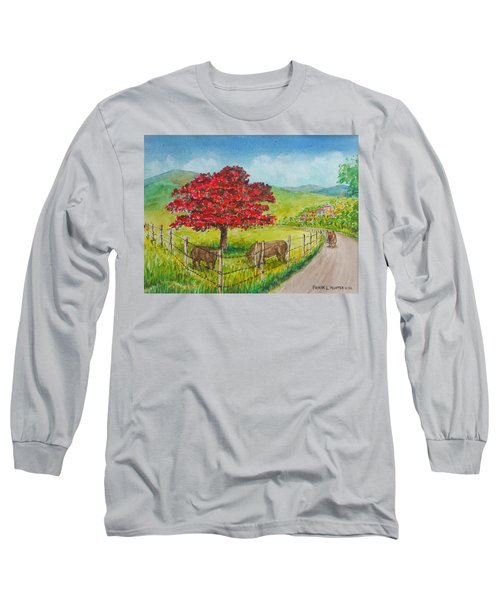 Flamboyan And Cows In Western Puerto Rico Long Sleeve T-Shirt by Frank Hunter